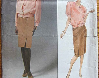 Bill Blass Misses' Jacket, Top, Skirt, Vogue 2527 Pattern UNCUT Sizes 14-16-18