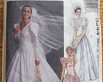 Misses' Bridal Gown and Bridesmaid Dress, Wedding, McCall's 5244 Sewing Pattern UNCUT Sizes 10-12-14