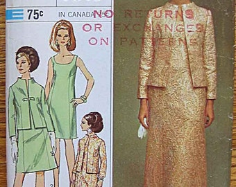 Vintage 60's Misses' Elegant Dress and Jacket, Designer Fashion, Simplicity 7348 Sewing Pattern Available in Size 12 or Size 14