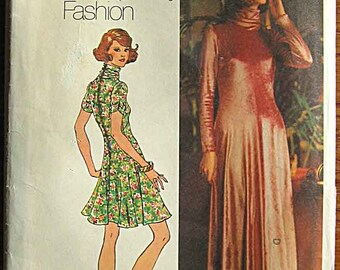 Vintage 70's Misses' Cowl Neck Knit Dress in Mini and Maxi Lengths, Simplicity 5184 Sewing Pattern UNCUT, Size 12