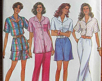 Misses' Pull-on Pants or Shorts and Shirt, Simplicity 8434 Sewing Pattern UNCUT, Avail in Sizes 12-18 OR 20-26
