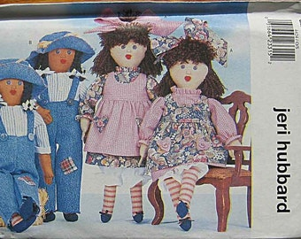 "Twin Dolls 16 1/2"" With Line Transfer by Jeri Hubbard Butterick 4424 Craft Pattern UNCUT"