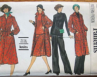 RARE Vintage 70's Boho Misses' Dress, Shirtdress, Belt, Skirt, Pants, and Top Vogue 9571 Sewing Pattern UNCUT Size 10