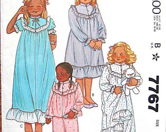 Vintage 80's Children's Girls' Toddler's Nightgown and Pajamas, PJs McCall's 7767 Sewing Pattern UNCUT Size 2