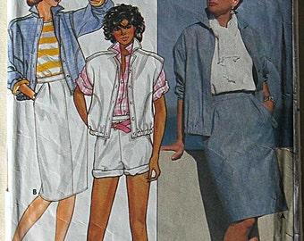 Vintage 80's Misses' Jacket, Vest, Skirt, Shorts, Butterick 3300 Sewing Pattern Size 12