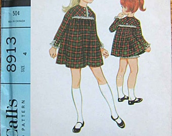 RARE Vintage 60's Children's Girl's Mini Dress and Pants McCall's 8913 Sewing Pattern UNCUT Size 4
