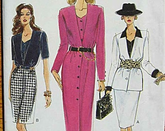 RARE Misses Dress, Top, and Straight Skirt, Vogue 9340 Sewing Pattern UNCUT Sizes 14, 16, 18