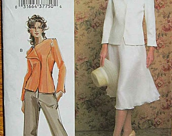 Misses' Lined Jacket, Pants and Skirt Vogue 7859 Sewing Pattern UNCUT Sizes 18, 20, 22