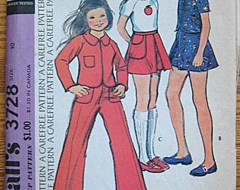 RARE Vintage 70's Boho Child's Girl's Jacket, Top, Skort, Pants, McCall's 3728 Sewing Pattern UNCUT Size 10