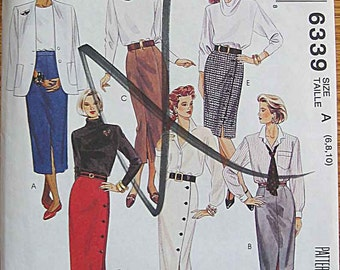 Misses' Straight Skirts in 2 Lengths, McCall's 6339 Sewing Pattern UNCUT Sizes 6, 8, 10
