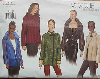 Misses' Jacket Vogue 2615 Sewing Pattern UNCUT Sizes 8, 10, 12