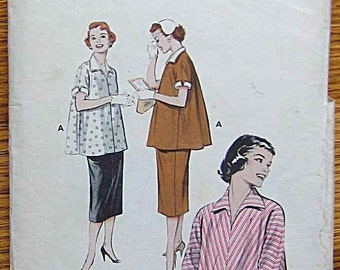RARE Vintage 50's Misses' Maternity Smock Top and Adjustable Skirt, Butterick 6972 Sewing Pattern Size 14, Bust 32""