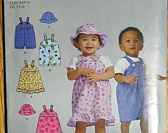 Babies', Infant's Romper, Jumper, Hat, Overalls Simplicity 2672 Sewing Pattern UNCUT Size XXS-L, Preemie to 18 Months