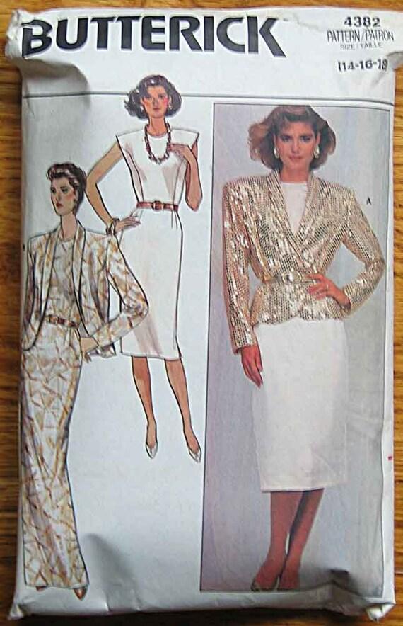 Vintage 80's Misses' Jacket and Dress, Butterick 4382 Pattern Size 14