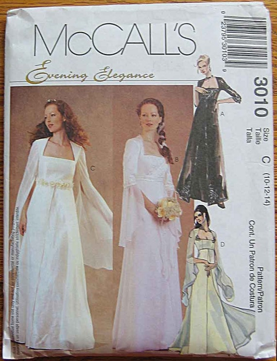 Misses 39 renaissance style empire waist bridal gown by for Empire waist wedding dress patterns