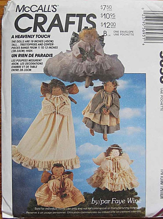 """Angel Dolls and Clothes, 11-19"""" Tall, Tree Topper, Centerpiece, Decoration McCall's 5693 Sewing Pattern Crafts UNCUT"""