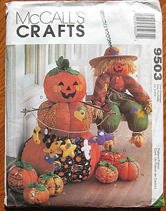 Halloween Fun Decorations, Pumpkin, Scarecrow, Ghost, Cat, Bat, Moon, Star, McCall's 9503 Sewing Pattern UNCUT