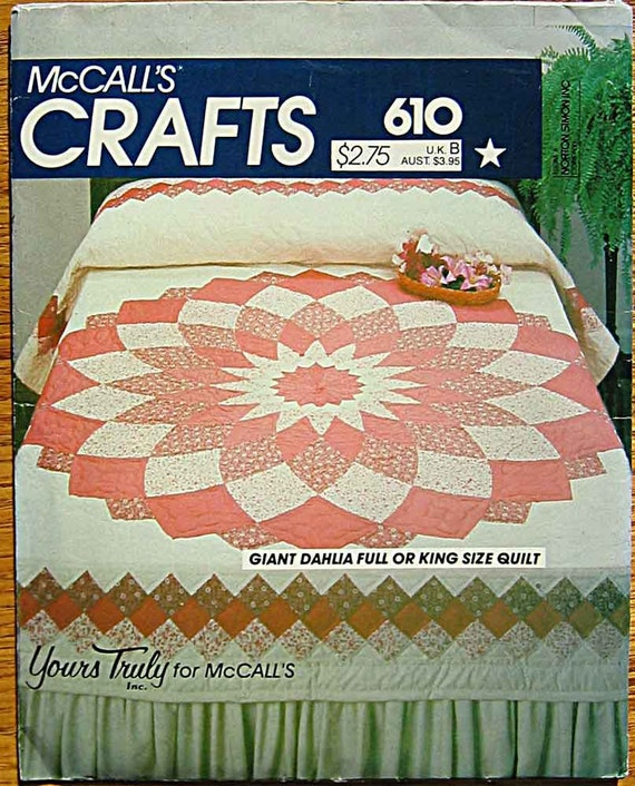 Vintage 80's Giant Dahlia Quilt Pattern by Yours Truly, McCall's 610 8473, UNCUT Full or King Size Bed Quilt