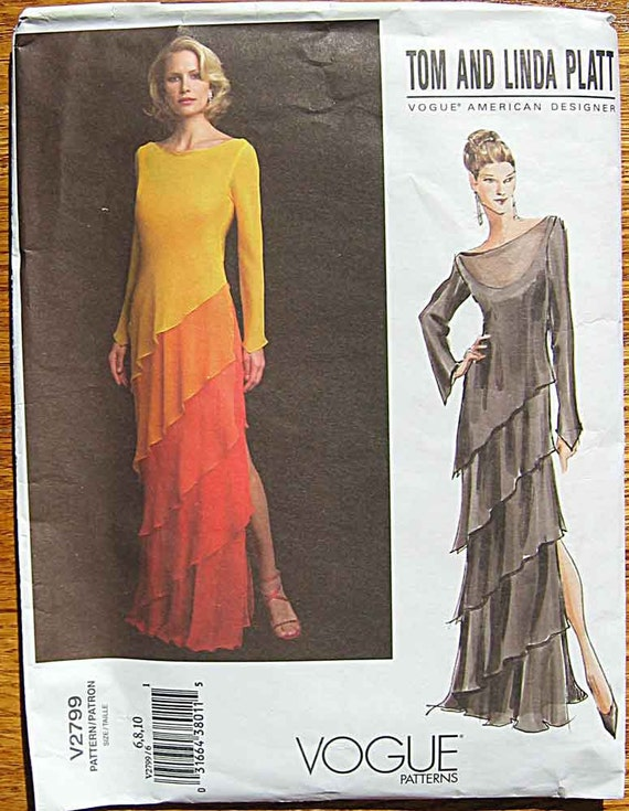 Misses' Tom and Linda Platt Tiered Evening Gown, Vogue 2799 Pattern UNCUT Sizes 6, 8, 10