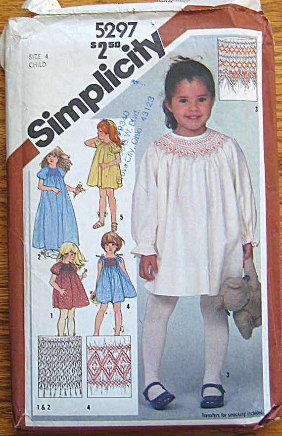 RARE Vintage 80's Children's Girl's Smocked Pullover Dress in 2 Lengths, Sundress Simplicity 5297 Sewing Pattern UNCUT Size 4