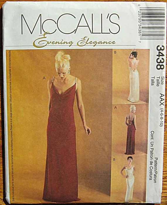 Misses' Evening Elegance Bias Gowns, Sleeveless Dress, Cowl Neckline, McCall's 3438 Sewing Pattern UNCUT Sizes 4, 6, 8, 10
