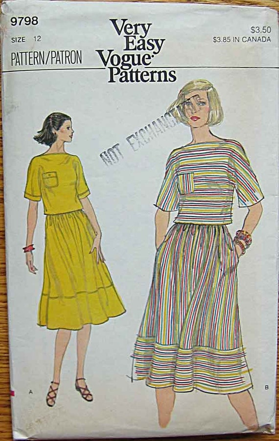 Vintage Misses' Top and Skirt, 2 Piece Dress, Vogue 9798 Sewing Pattern Size 12