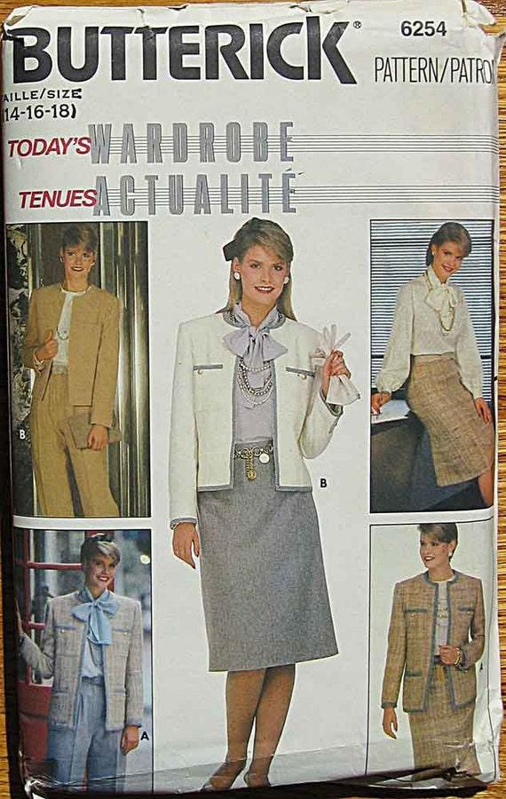 Vintage 80's Misses' Jacket, Skirt, Pants, Blouse, Scarf, Suit, Business Wardrobe Butterick 6254 Pattern UNCUT Sizes 14, 16, 18