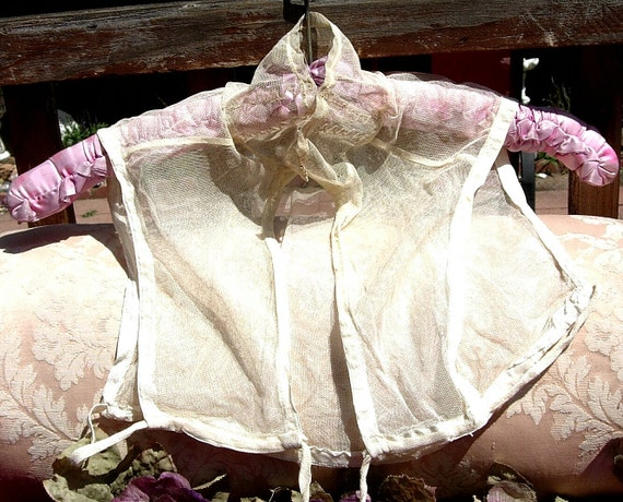 Antique Lace Vintage Lace Plain Tulle Edwardian Dress Lace Top or Dickey