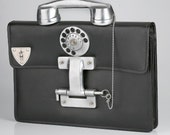 industrial steampunk telephone LEATHER briefcase Hi Tek London ALEXANDER