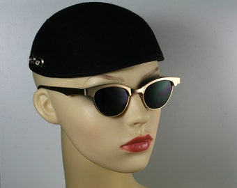 Vintage 80's retro 1930s 1950s steampunk gold metal cats eyes sunglasses