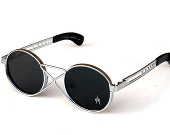 Round sunglasses Steampunk sunglasses vintage round silver metal sunglasses techno rock industrial NOS HT-4008 unusual