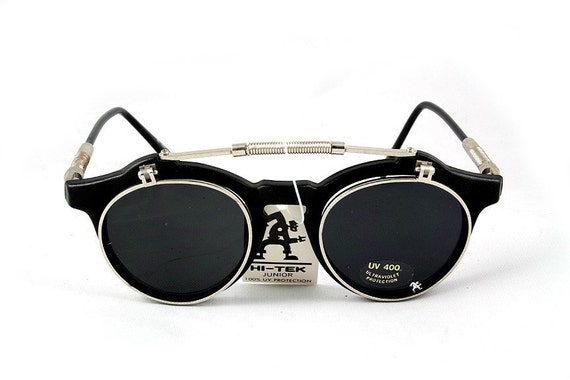 retro 1950s sunglasses vintage 1980s Steampunk Goth steampunk flip up Sunglasses flip ups Lady Gaga Paparazzi sunglasses Hi Tek Alexander