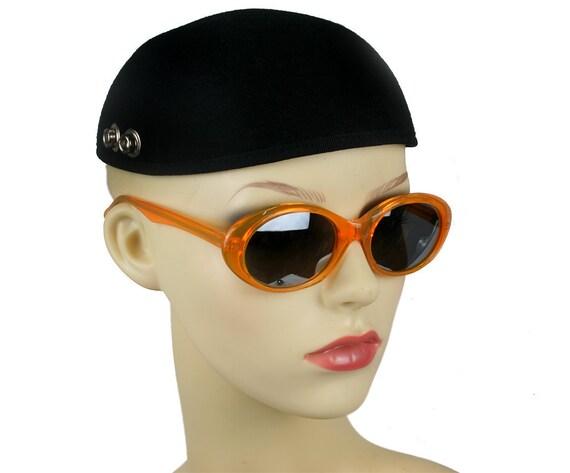 Vintage 80's cats eyes sunglasses orange frame mirror lens ALEXANDER Hi Tek