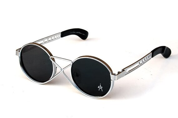 Round sunglasses Steampunk sunglasses vintage round silver metal sunglasses techno rock industrial NOS HT-4008 unusual
