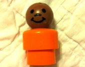 Fisher Price Little People - all plastic light orange black boy from change a tune carousel set