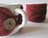Pair of Alpaca Coffee Tea Mug Cup Cozies Burgundy Rust Red