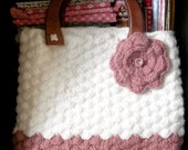 Cute Crochet Bag with Flower Brooch - Pink & White - READY TO SHIP
