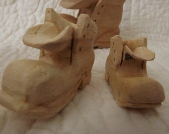 Instant Collection of Hand Carved Miniature Wood Boots - Set of Three