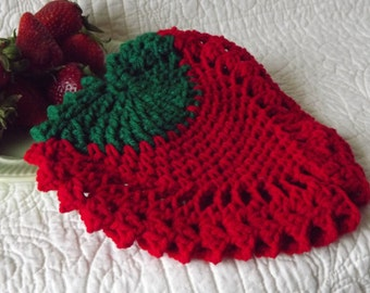 Crocheted Strawberry Potholder