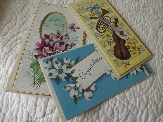 Charming Vintage Greeting Cards with Envelopes - Set of Three