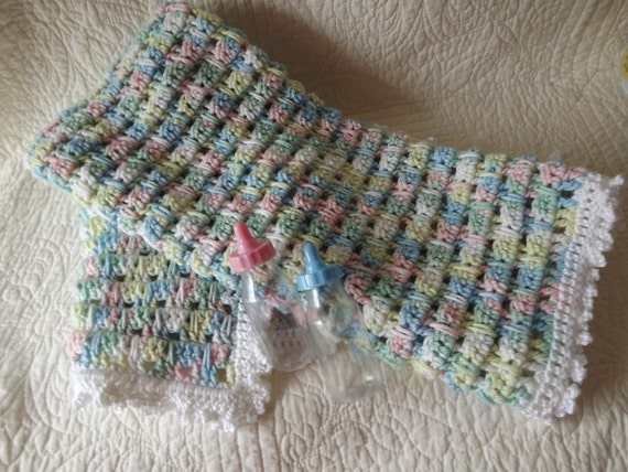 Crocheted Baby Blanket in Pastel Colors with a White Edge