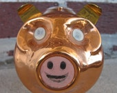 Vintage Copper Piggy Bank with Optical Illusion Eyes and Mouth