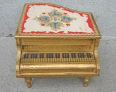 Vintage Grand Piano Music and Jewelry Box with Ballerina