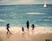 Blue Colored Family Beach Day Original Summer Vacation Original Fine Art Acrylic Painting