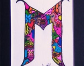 Personalized Letter M Initial Name Original Art Design Mothers Day Gift FREE SHIPPING