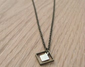 Vintage brass geometric necklace with square charms