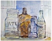 Antique glass bottles shine with rainbow watercolors