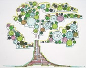 Fanciful circles of bright colour pretend to be leaves in this original abstract illustration of a tree