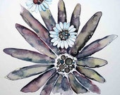 springtime daisy in bright and cheery Original watercolor