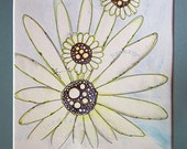 A beautiful and peaceful abstract watercolor of a daisy-like flower with bubble centers